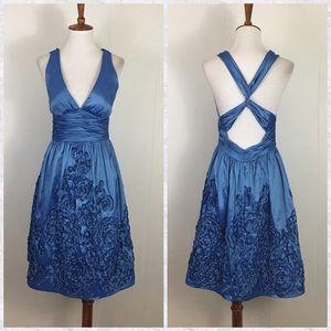 Adrianna Papell Floral Appliqué A-Line Dress